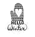 Hello winter text brush lettering and knitted vector image vector image