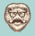 hipster lion with eyeglasses and mustache vector image vector image
