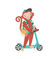 little monkey on kick scooter flat vector image