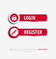 login and register buttons vector image vector image