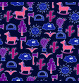 lovely seamless pattern with horses cactuses vector image vector image