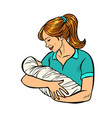 mother with newborn woman and child isolate on vector image