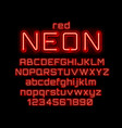 Neon city color red font english alphabet and