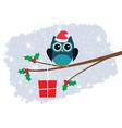 owl in santa hat vector image vector image