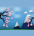 paper art style of cherry blossom on blue vector image vector image