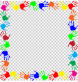 rainbow frame with multicolored handprints border vector image vector image