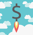 Rocket dollar above clouds vector image