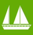 sailing boat icon green vector image vector image
