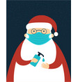 santa claus character wearing protective face vector image vector image