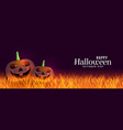 scary halloween banner with laughing pumpkins vector image vector image