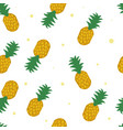 seamless pineapple pattern on white background vector image vector image