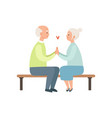 senior man and woman sitting on a park bench vector image vector image