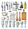 set kitchen utensils vintage engraving vector image