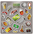 set of soccer cartoon stickers vector image