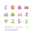 set simple line icons united kingdom vector image vector image