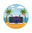 summer and beach round symbol vector image vector image