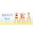 summer time positive body cartoon woman banner vector image vector image