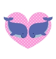 Two whales in love and big dotted heart vector image vector image