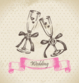 Wedding wineglasses hand drawn vector image vector image