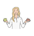 woman makes choise green apple cake vector image vector image