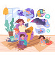 young mother with her three small children vector image vector image