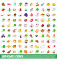 100 cafe icons set isometric 3d style vector image
