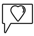 bubble love talk icon vector image