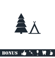 Tourist tent icon flat vector image