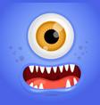 cartoon monster face halloween blue vector image