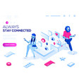 3d isometric landing page concept virtual vector image