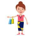 a smiling woman returning from shopping on white vector image