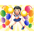 A young cheerer in the middle of the balloons vector image vector image