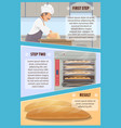 baking process steps with baker and bread vector image vector image