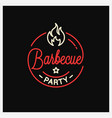 barbecue party logo round linear logo bbq vector image