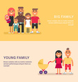 Big family and young family Colored web banners on vector image