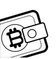 bitcoin virtual wallet black and white vector image vector image