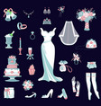 bride accessories set wedding items for vector image vector image