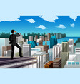 businessman standing on a rooftop vector image