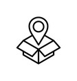 Cardboard box pointer location delivery icon thick