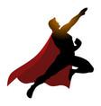 cartoon silhouette of a superhero flying vector image vector image