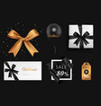 christmas golden and black bow gift set vector image vector image