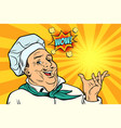 cook chef man presentation gesture vector image