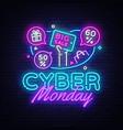cyber monday sale neon banner design vector image vector image