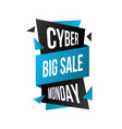 cyber monday sticker big sale discount banner vector image