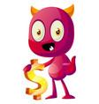 devil holding big dollar sign on white background vector image vector image