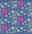 doodle floral pattern with white and pink flowers vector image