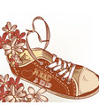 fashion hand drawn sport boot with flowers vector image vector image