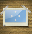 Flags Micronesia at frame on a brick background vector image vector image