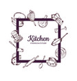 frame with hand drawn kitchen utensils vector image vector image