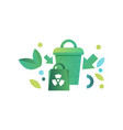 green recycle bin and paper bag with recycle vector image vector image